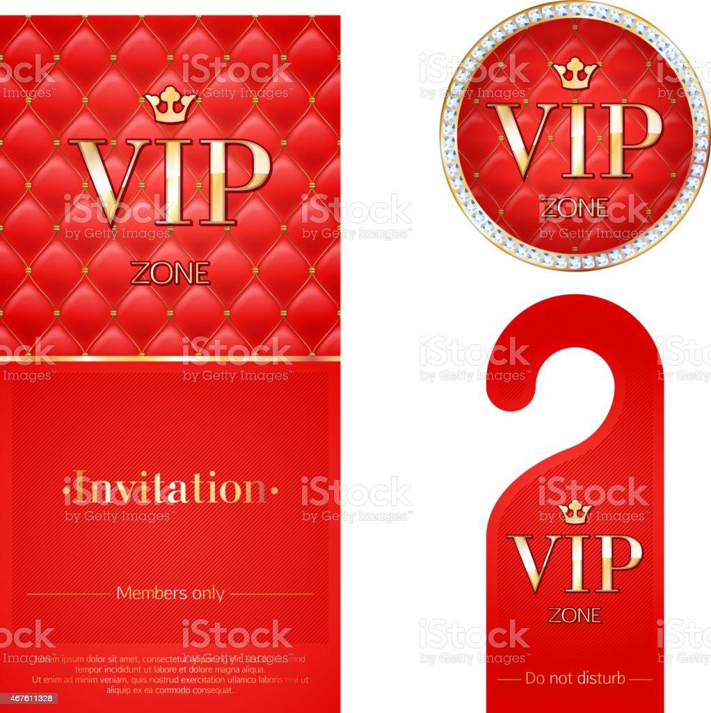 Red VIP invitation card, warning hanger, and badge vector art illustration
