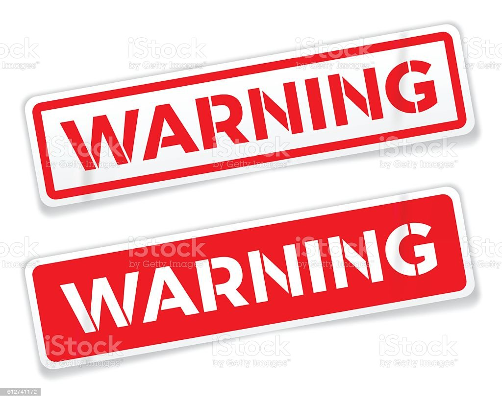 Red Warning Stickers vector art illustration