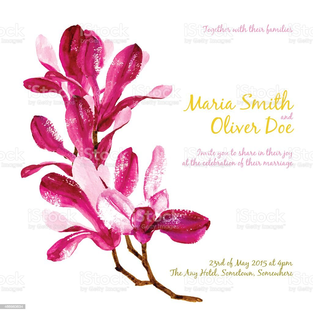 A red watercolor magnolia on a white background vector art illustration