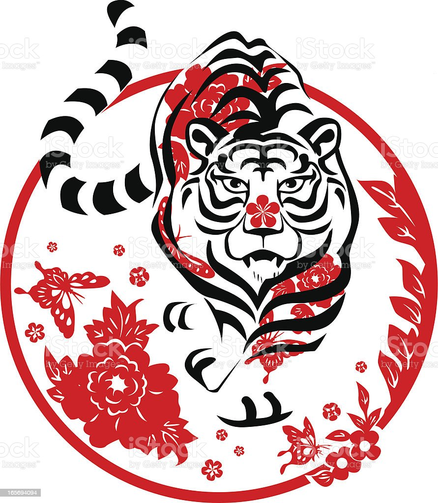 Red white and black round Year of the Tiger icon royalty-free stock vector art