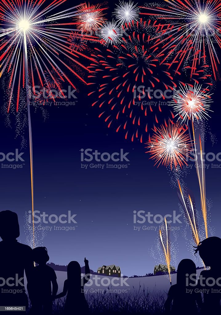 Red, White and Blue Firework Display vector art illustration
