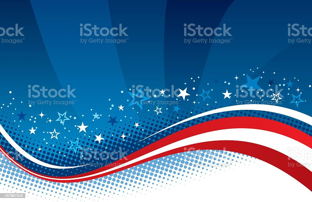 Red, white, and blue Fourth of July background royalty-free stock vector art