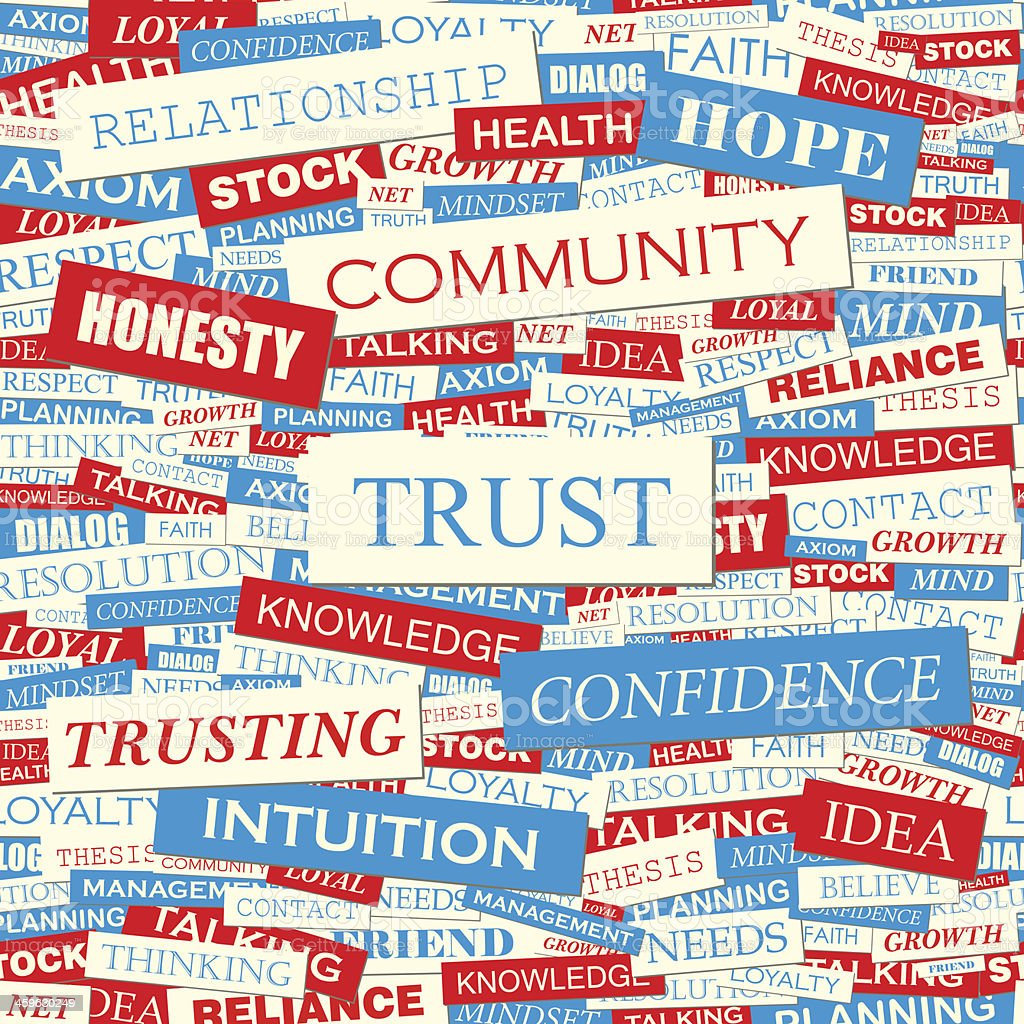 Red, white, and blue labels of uplifting terms like TRUST vector art illustration