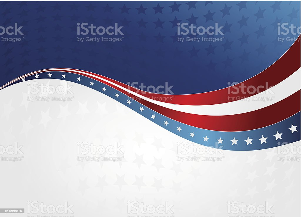 Red, white, and blue patriotic wave background vector art illustration