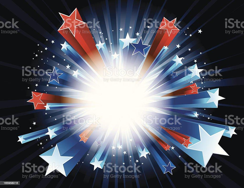 Red, white, and blue stars bursting vector art illustration