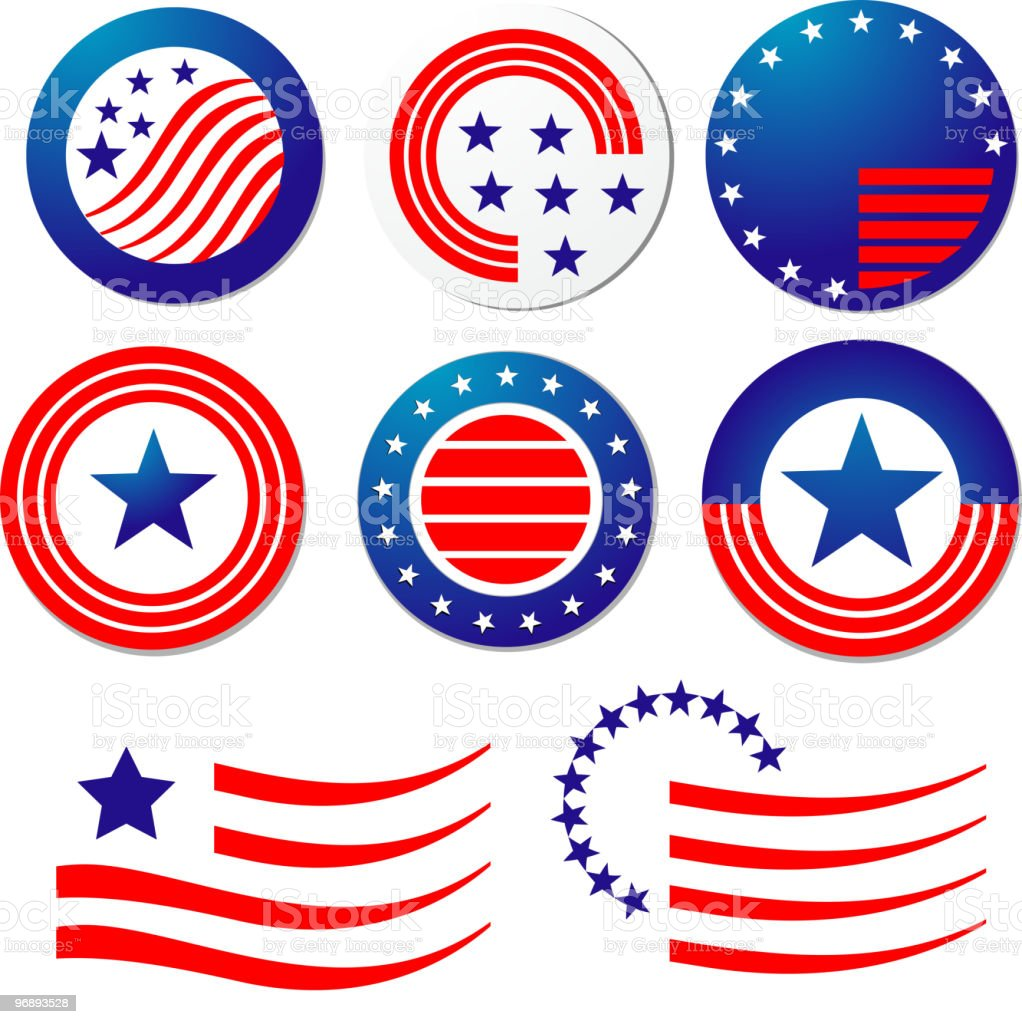 Red white and blue United States symbols royalty-free stock vector art