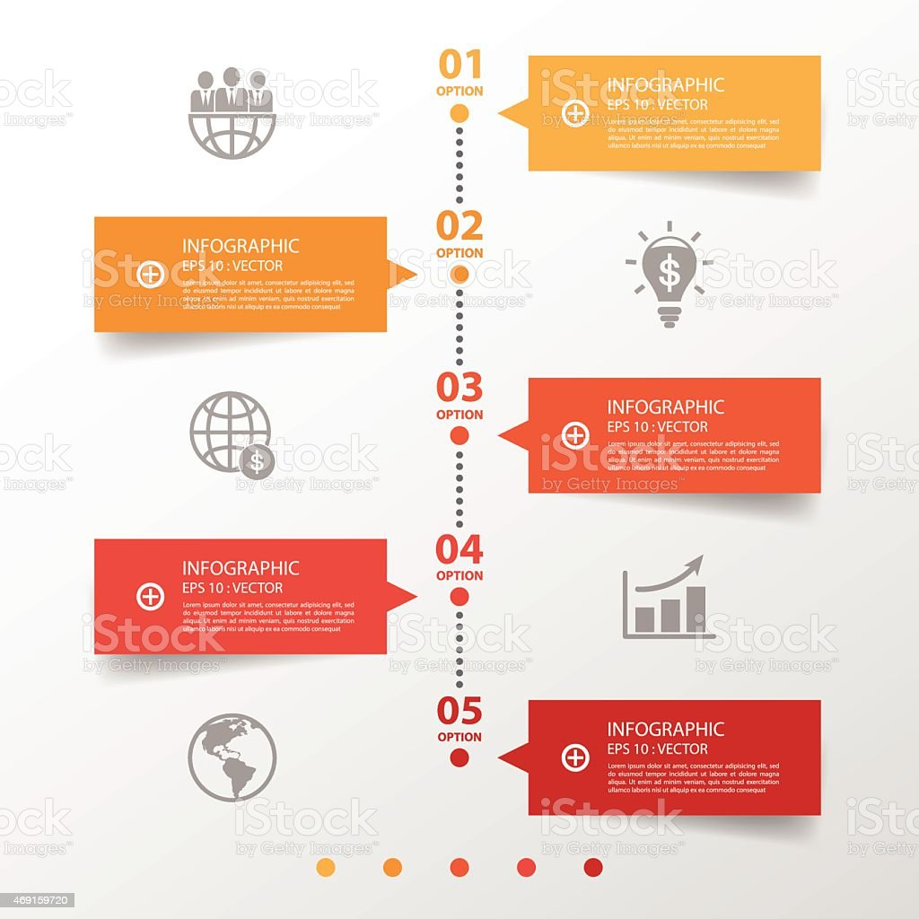 Red, white, and orange graphic timeline banners vector art illustration