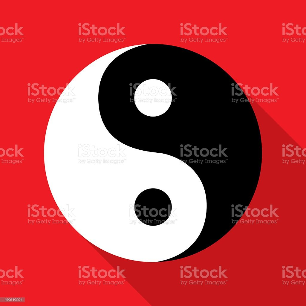 Red White Black Yin Yangicon vector art illustration
