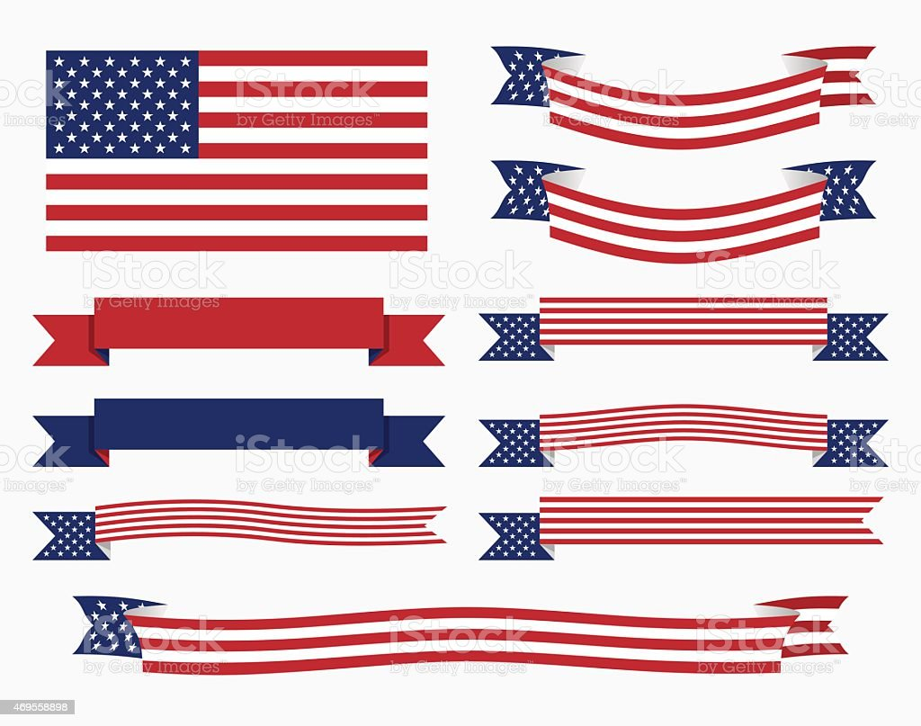 Red white blue american flag, ribbon and banner vector art illustration