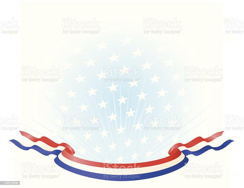 Red White Blue Banner on Star Background Gradient vector art illustration
