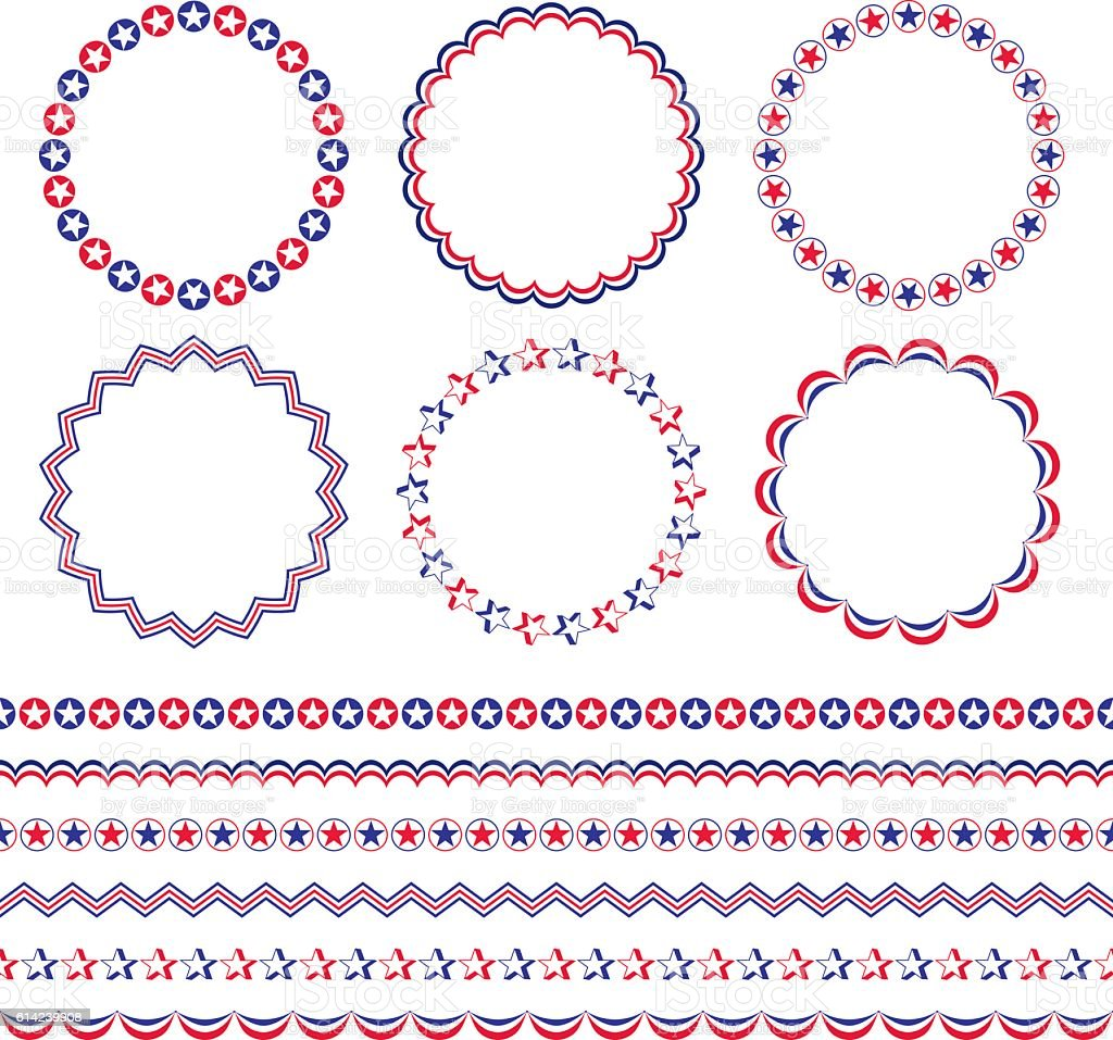 red white blue patriotic frames and borders vector art illustration