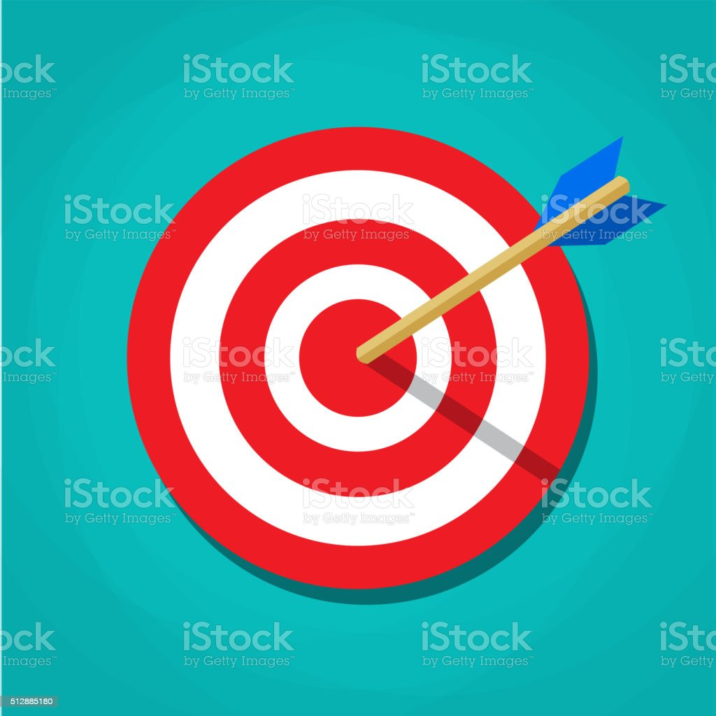 Red white circle darts target vector art illustration
