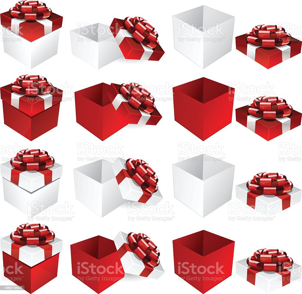 Red White Gift Box vector art illustration
