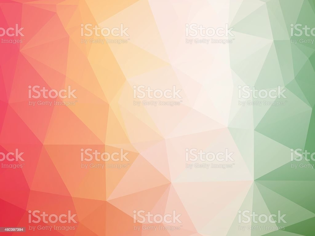 red white green triangles background vector art illustration