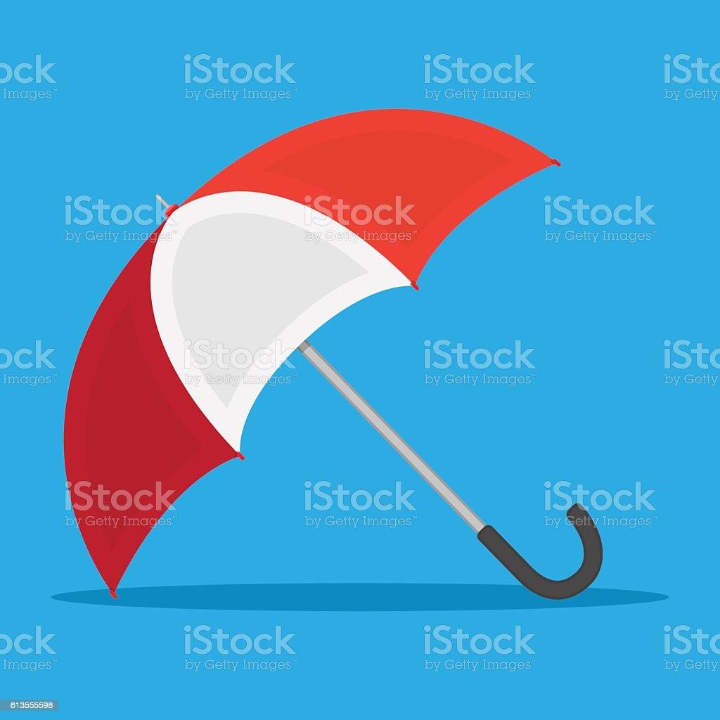 red white umbrella icon vector art illustration