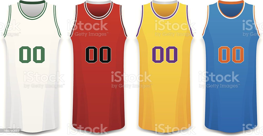 Red, White, Yellow and Blue Basketball Jersey Vector Illustration royalty-free stock vector art