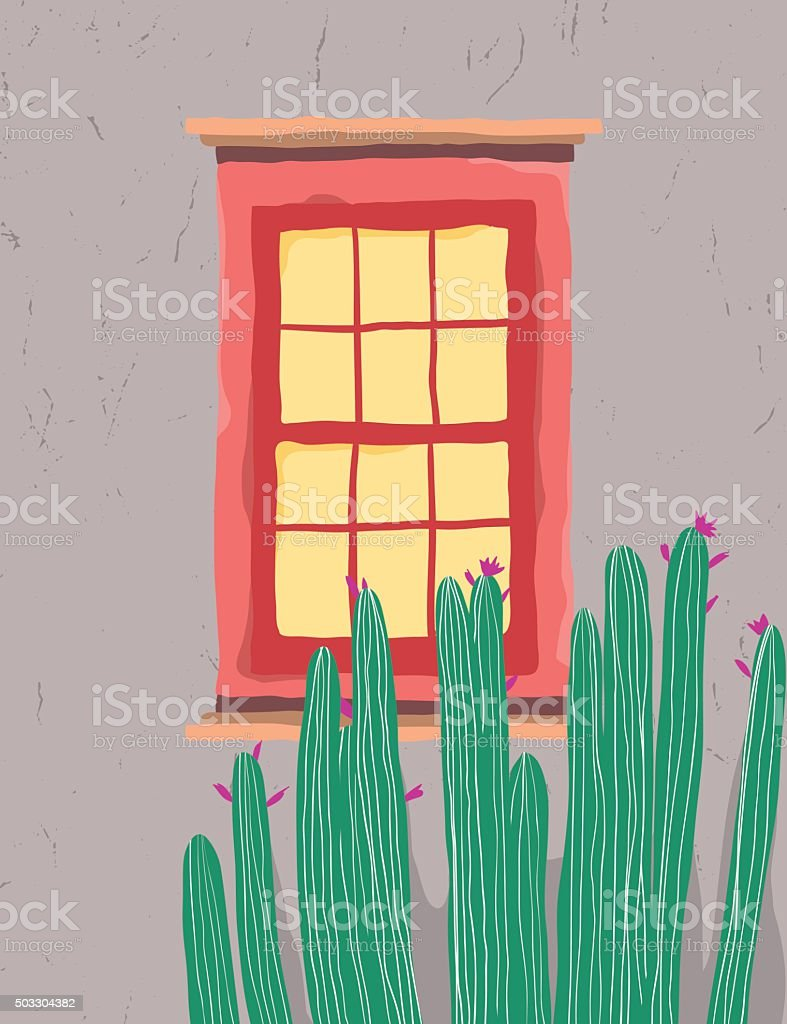 Red window decorated with cactus vector art illustration