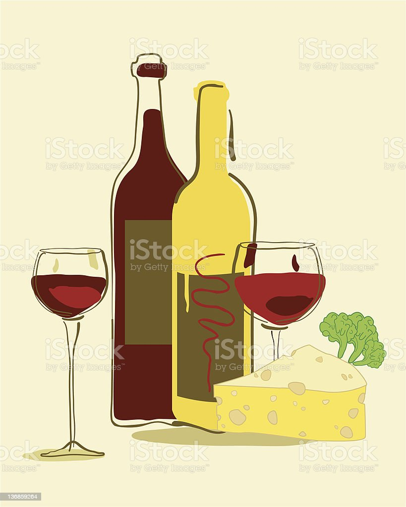 Red wine and cheese royalty-free stock vector art