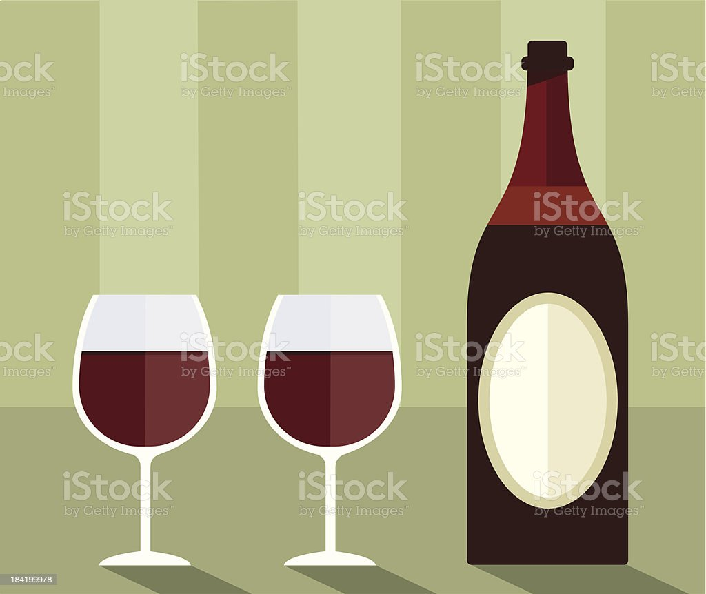 Red wine and glasses vector art illustration