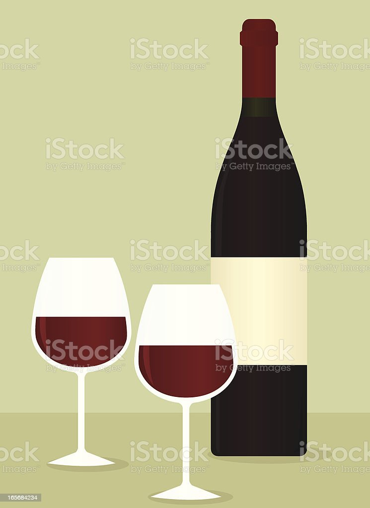 Red Wine Bottle and Glasses royalty-free stock vector art