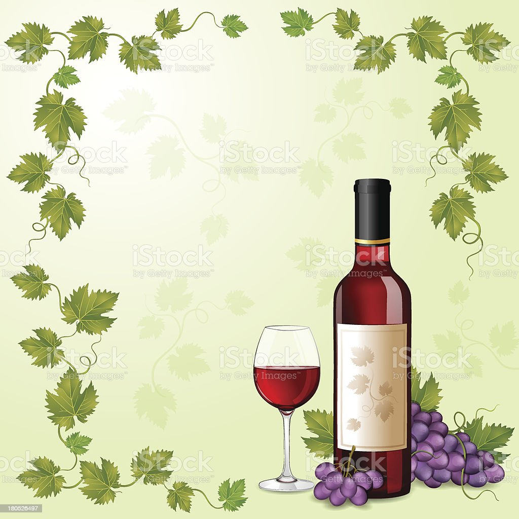 Red wine bottle and grapes royalty-free stock vector art