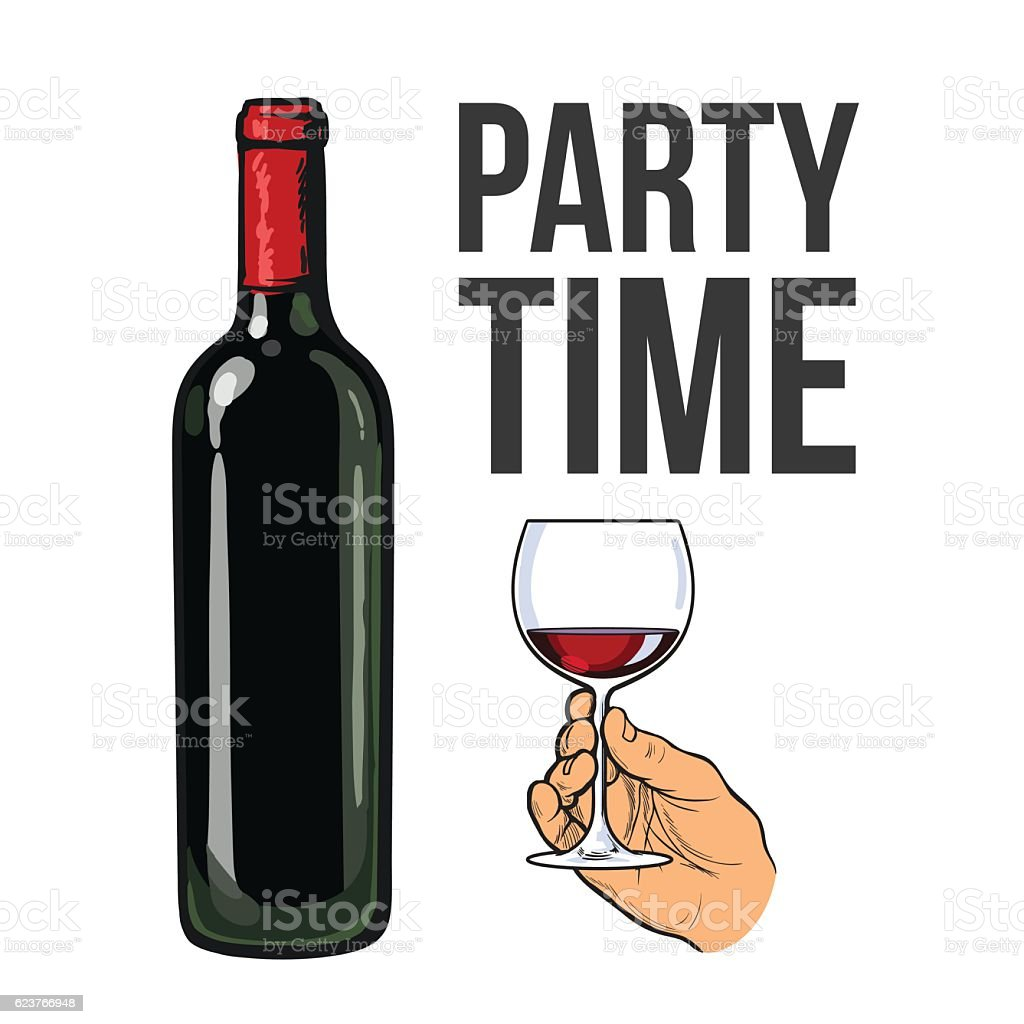 Red wine bottle and hand holding a glass vector art illustration