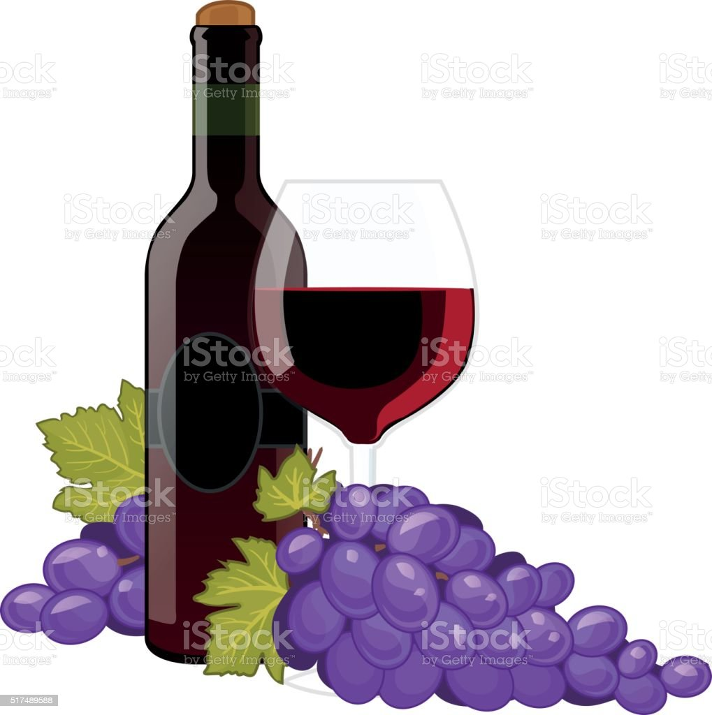 Red wine bottle and wineglass vector art illustration