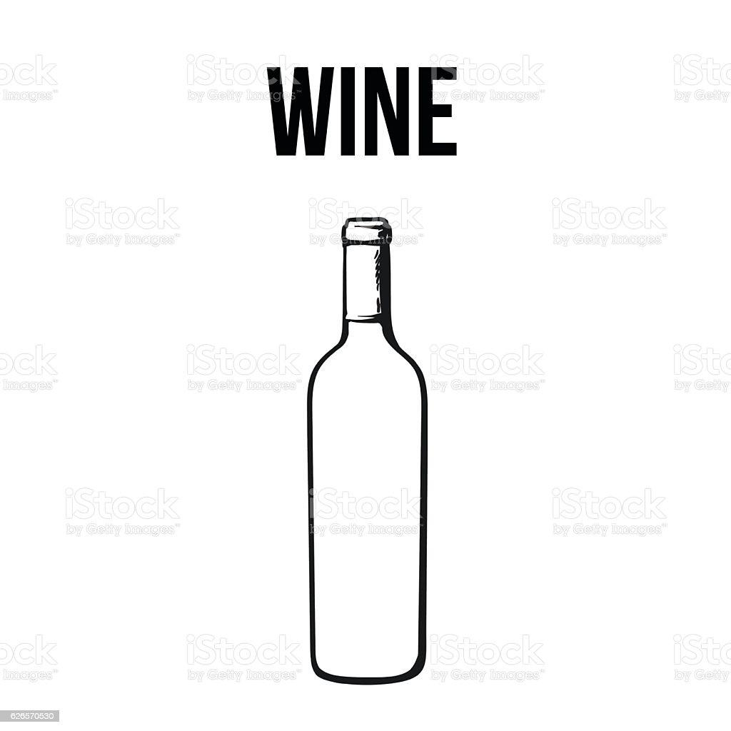 Red wine bottle, isolated sketch style vector illustration vector art illustration