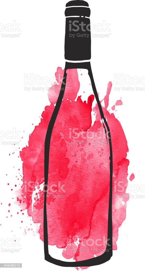 Red Wine bottle label hand lettering design vector art illustration