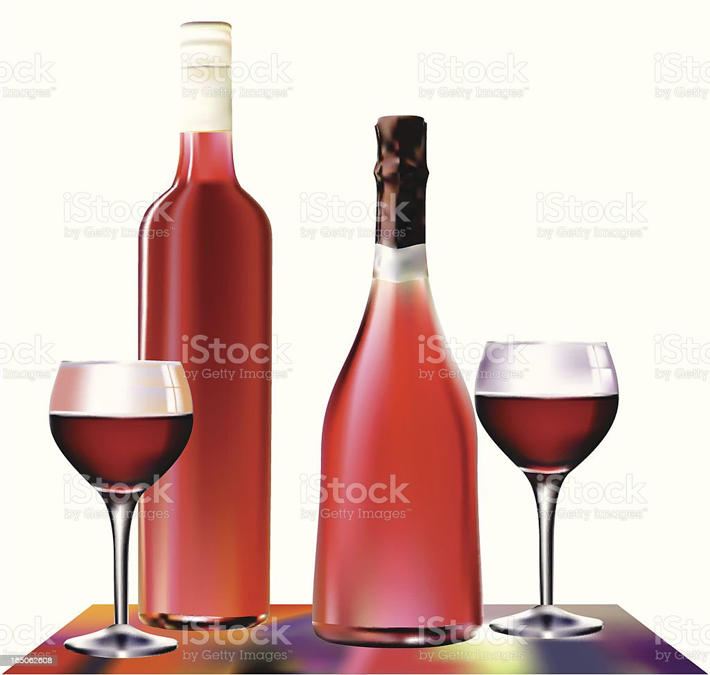Red Wine bottles and glasses - VECTOR royalty-free stock vector art