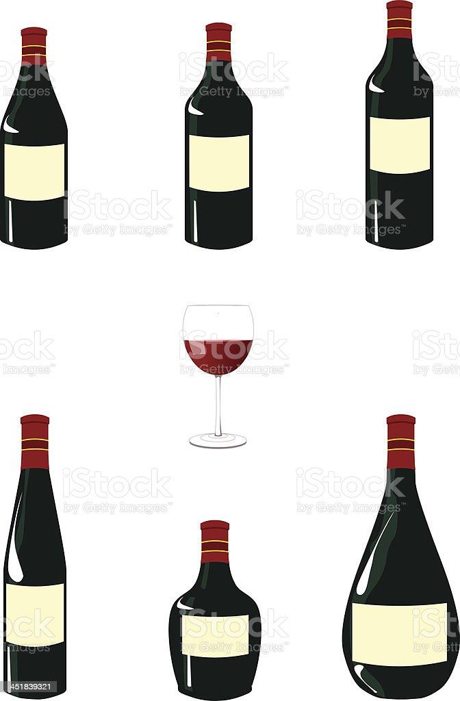 Red Wine Bottles Pack vector art illustration