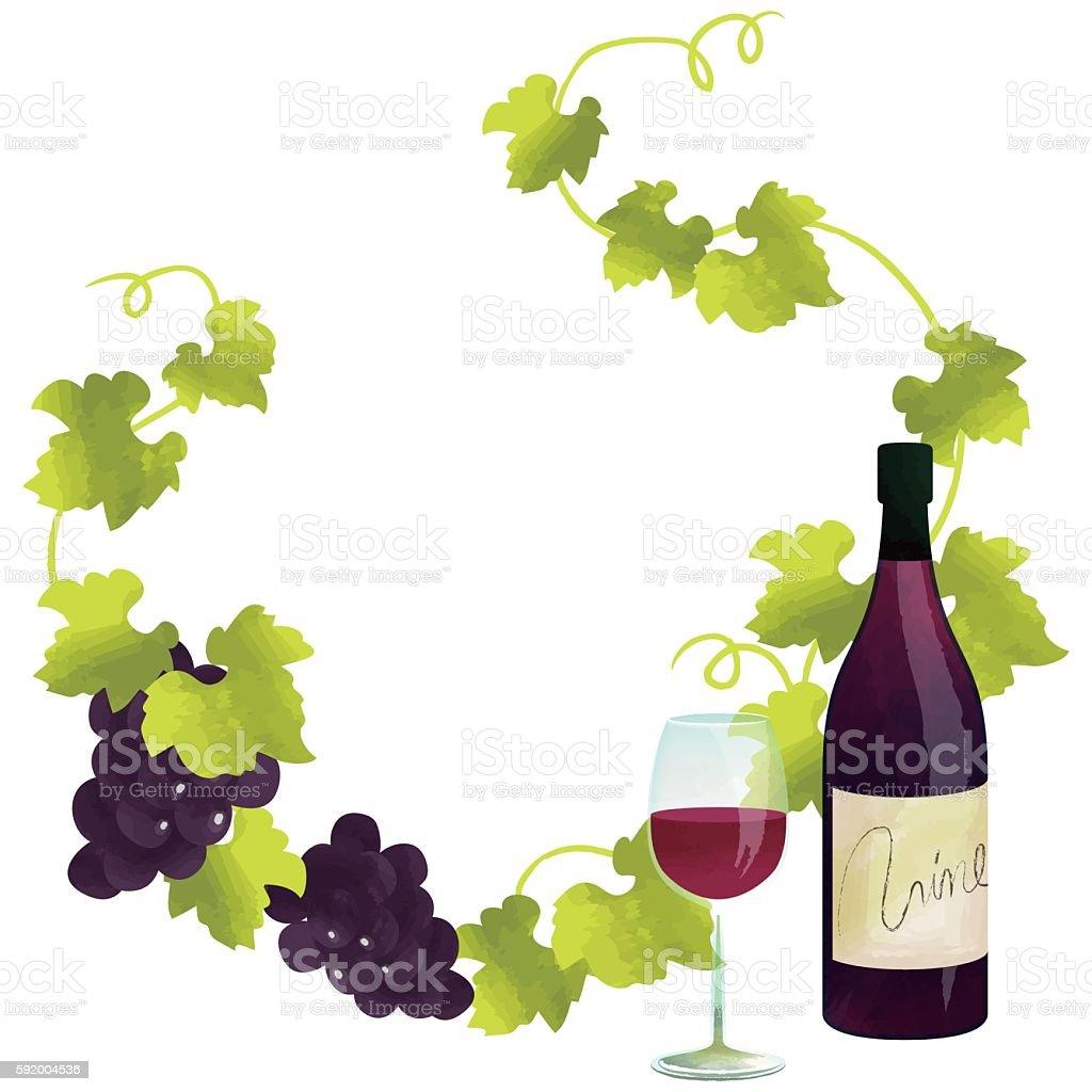 €€red wine frame vector art illustration