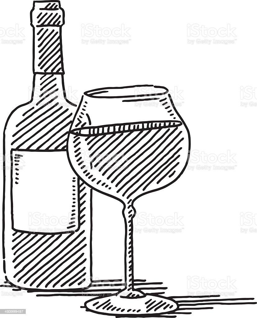 Verre vin rouge bouteille de dessin stock vecteur libres - Dessin de verre ...