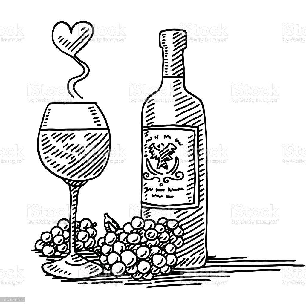 Bouteille de verre de vin rouge raisin dessin amour stock - Verre de vin dessin ...
