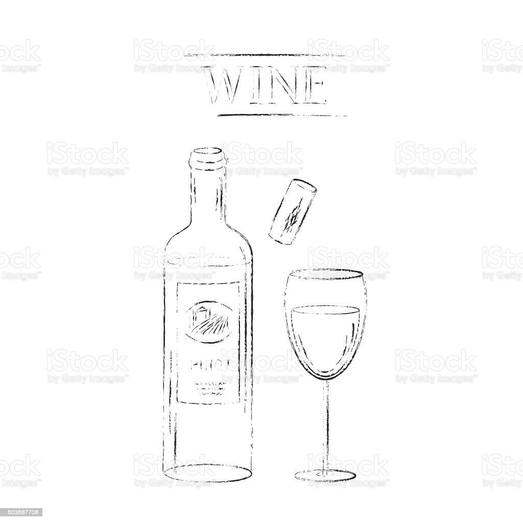 Red wine glasses, cork, corkscrew and red wine bottle vector art illustration