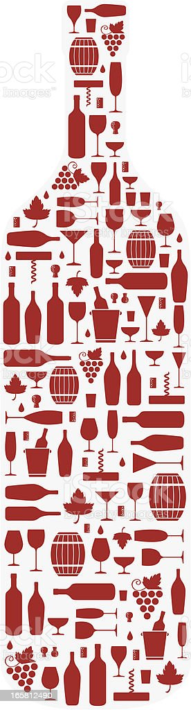 Red wine icons in the shape of a wine bottle vector art illustration