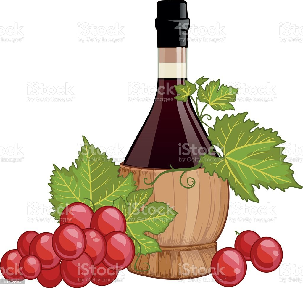 Red wine in italian fiasco bottle vector art illustration