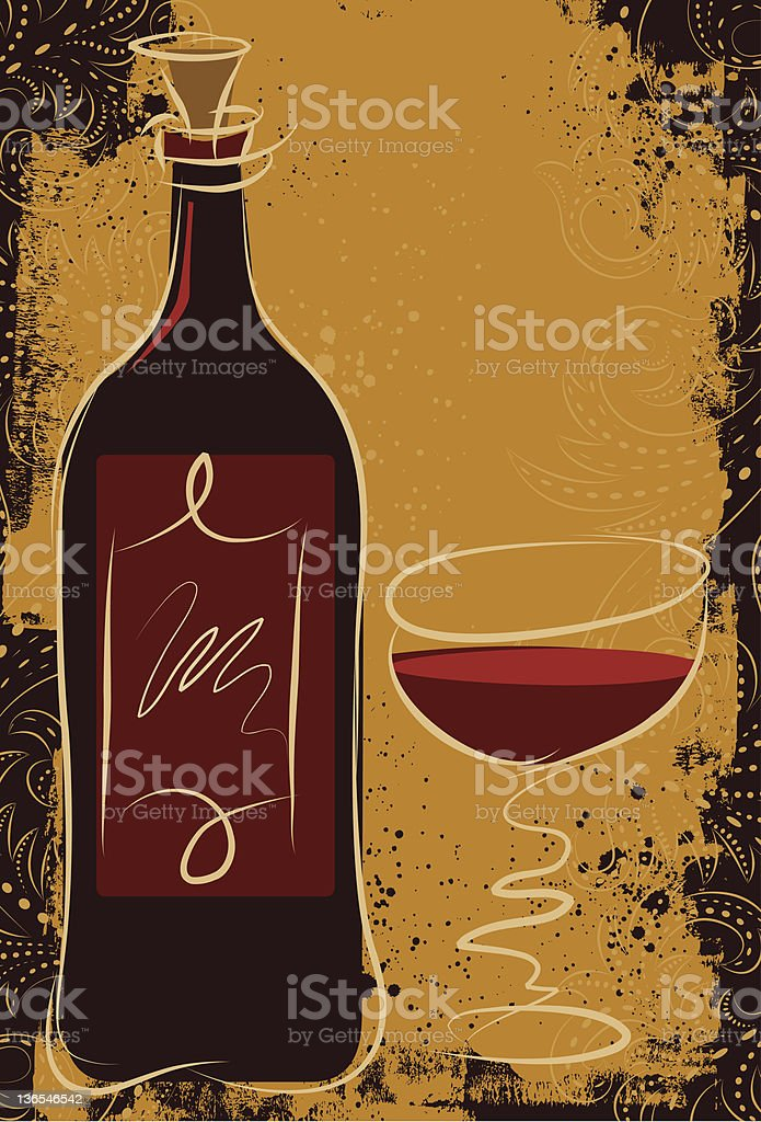 red wine over scrollwork royalty-free stock vector art