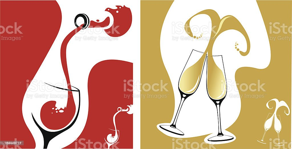 Red wine pour and champagne flutes concepts vector art illustration