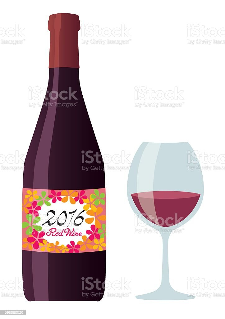 Red wine set vector art illustration