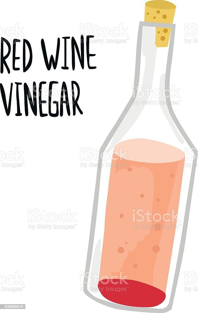 Red Wine Vinegar Bottle with Type vector art illustration