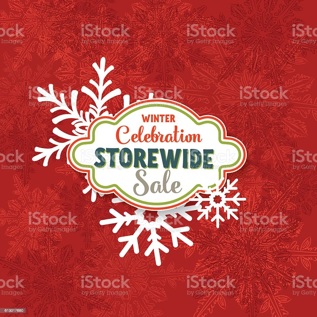 Red Winter Sale Tag Advertisement vector art illustration