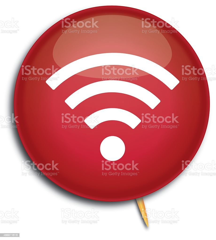 Red Wireless Pin vector art illustration