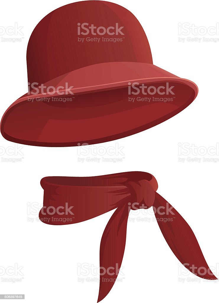 Red woman's hat with scarf isolated on white background vector art illustration
