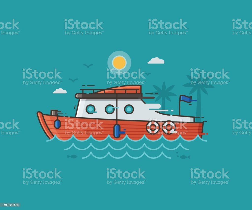 Red Yachting Boat on Water vector art illustration