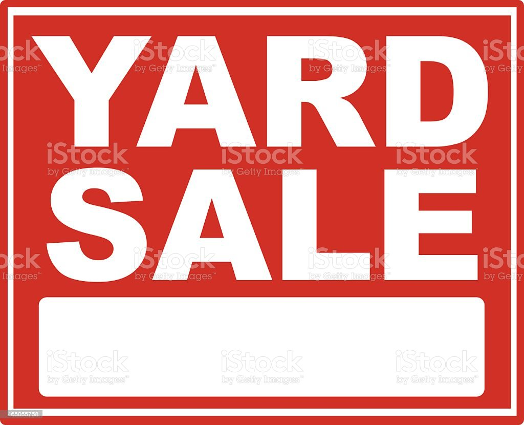 Red yard sale sign with white font vector art illustration