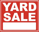 Red yard sale sign with white font