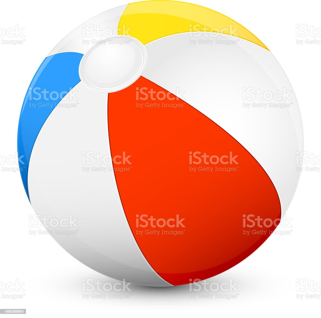 Red, yellow, blue and white beach ball on a white background vector art illustration