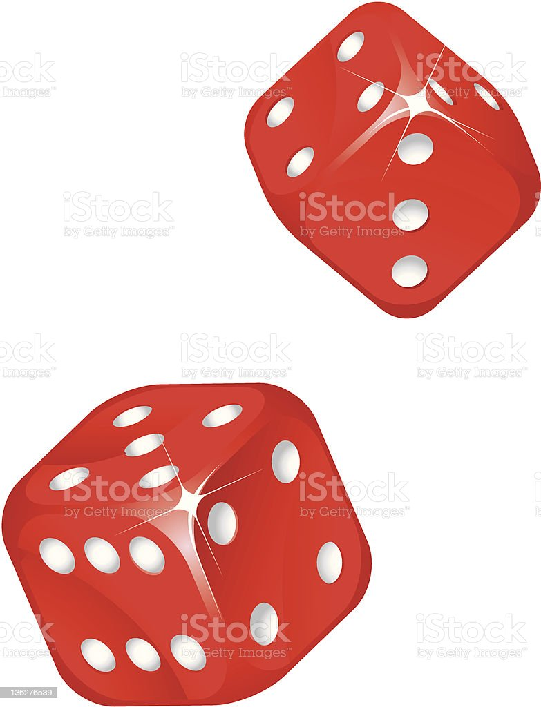 Red dices. vector art illustration