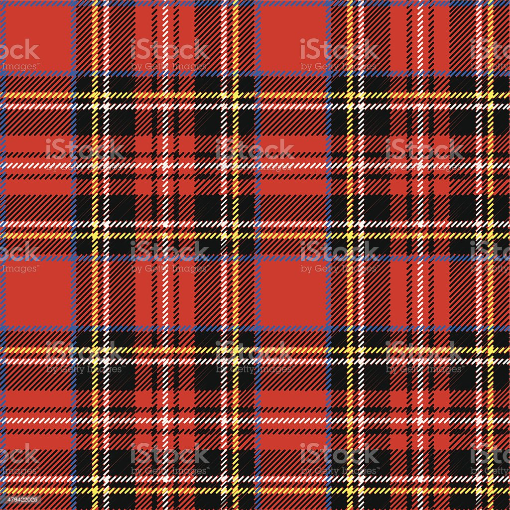 Red,black,blu?,yellow and white tartan seamless vector pattern vector art illustration